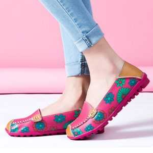 2020 Fashion Genuine Leather Women Slip On Flower Print Flats Shoes