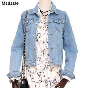 Woman Slim Stretch Short Denim Basic Jackets