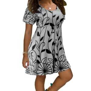 Women Casual Short Sleeve O-Neck Print A-line Large Sizes Loose Dress