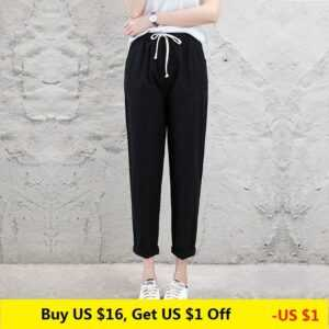 Brand Chic Loose Cotton Linen Breathable Slim Ankle Length Pants