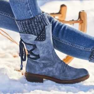Casual Lace Up Patchwork Knitting Women Mid Calf Boots