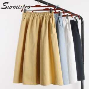 100% Cotton Midi Summer Pocket A-line Women Skirt