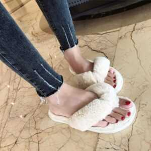 Women Faux Fur Home Slippers