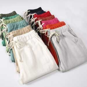 Cotton Linen Ankle Length Women High Waist Pants