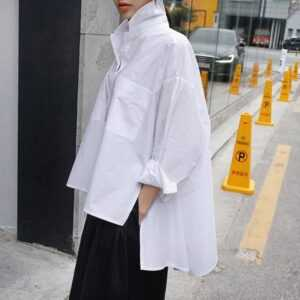 Lapel Long Sleeve White Back Long Loose Big Size Irregular Shirt Women Blouse