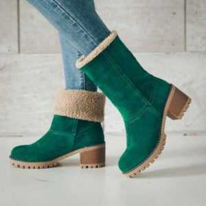 New Flock Fur Women's Suede Ankle Winter Snow Boots