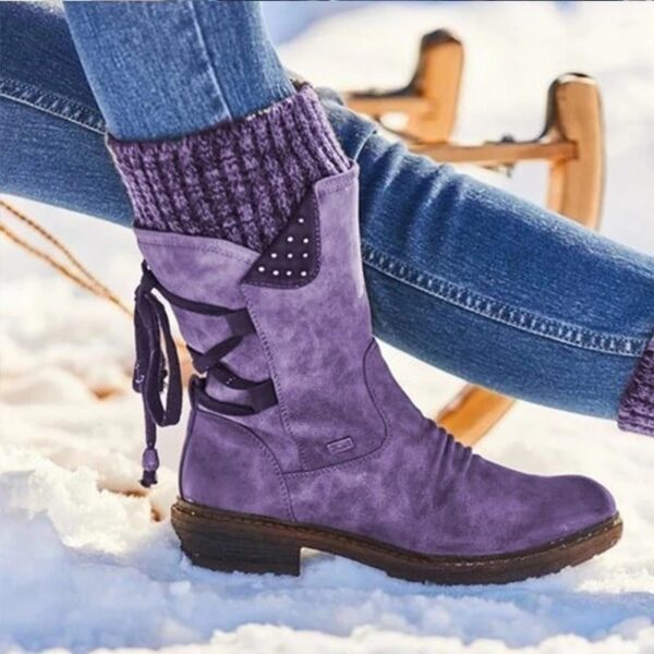 Winter Warm Snow Boots Casual Lace Up Patchwork Knitting Women Mid Calf Boots Vintage Leather Ladies Flat Platform Shoes Booties