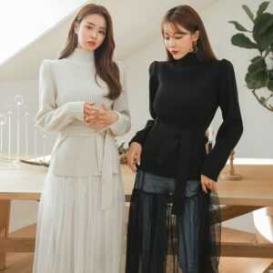 Knitted Elasticity Casual Jumper Fashion Turtleneck Warm Female Sweaters