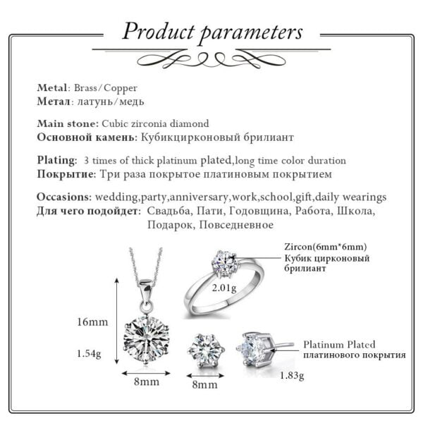 USA STOCK Uloveido 40% Bridal Wedding Jewelry Sets Silver Color Stud Earrings Ring Necklaces Crystal Jewelry Necklace Set T043