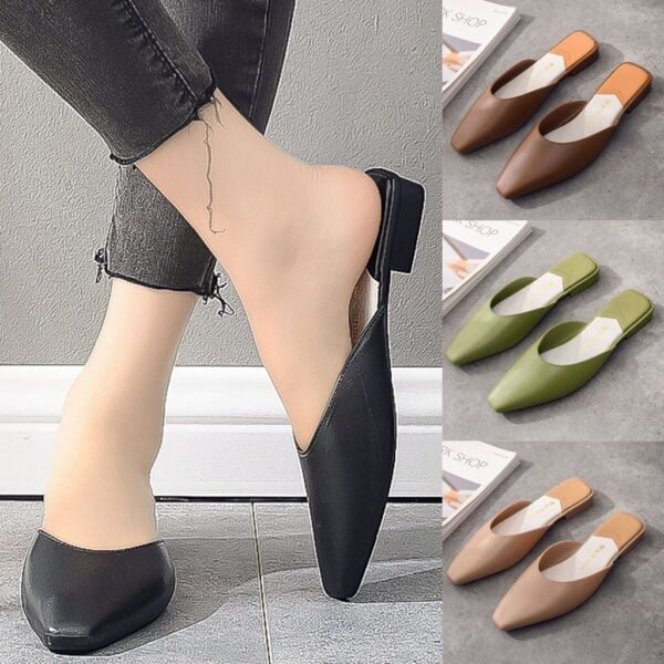 Fashion Women Half Slipper Slip-On Low-Heeled Square Toe Party Shoes Sandals wearing square and half slippers women's sandals