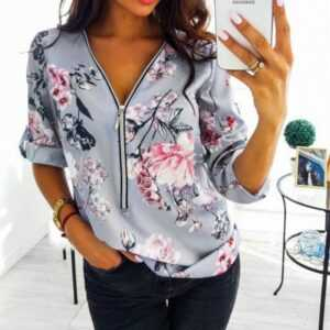 Casual V Neck Front Zipper Loose Floral Print Tunic Ladies Blouse