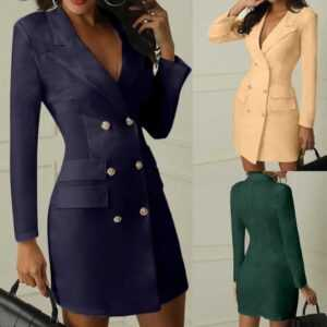 Fashion Office Double Breasted Button Front Style Long Sleeve Dress