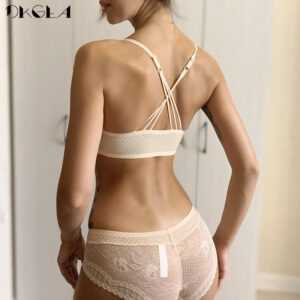 Front Closure Bras Lace Embroidery Underwear Set