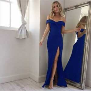 Female Slash Neck Off Shoulder Long Evening Dress
